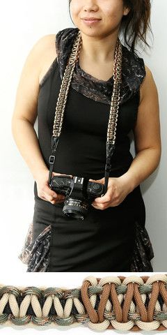 Check this out- parachute cord dslr camera strap- genius. This is what we used to do with embroidery floss in junior high to make bracelets.