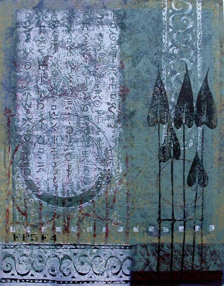 """Close to Home, by Anne Moore, monotype, 16""""X 12.5"""""""