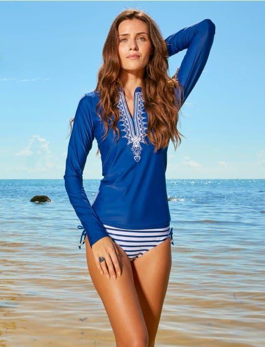 Navy Embroidered Rashguard, $76.00 Cabana Life 50+ UPV Sun Protective Clothing