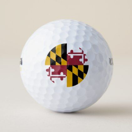 Wilson Golf Ball with flag of Maryland USA - elegant gifts gift ideas custom presents