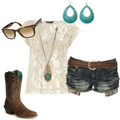 cute!: Cowgirl Boots, Lace Tops, Style, Concerts Outfits, Country Girls, Cowgirl Outfits, Summer Outfits, Shorts, Cowboys Boots