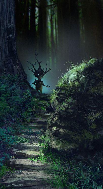 Bébé Ent / Druide / Nymphe / On les appelle Dryad quand ils ressemblent entièrement à des arbres, Druide quand il joue de la musique, Nymphe lorsqu'ils ont une petite apparence humaine