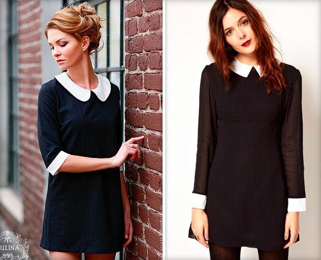 Скромное черное платье с белым воротником