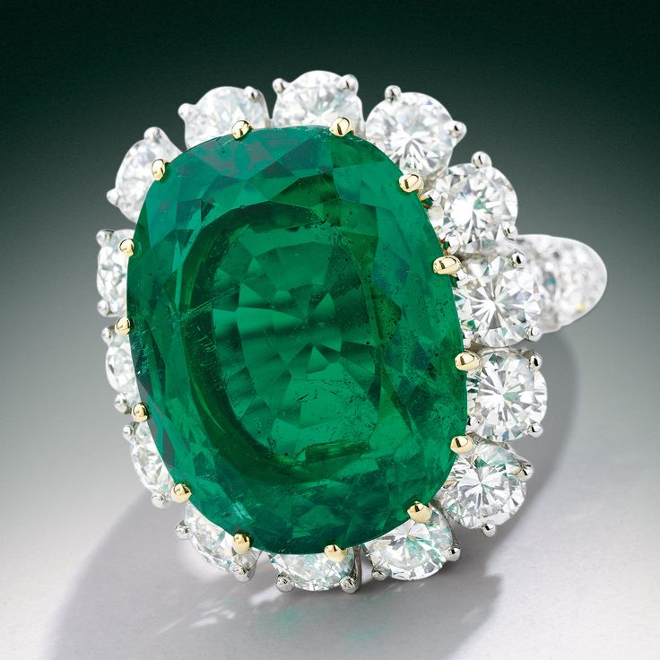 Classic Colombian emerald and diamond ring, the emerald weighing 12.48 carats, Van Cleef & Arpels, France.