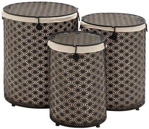 Round Hampers Set Of 3 Metal Hamper Laundry Homedecorators