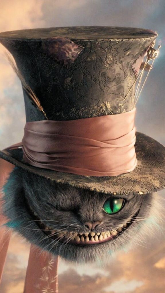 alice in wonderland, cheshire cat, we're all mad here, mad hatter's hat