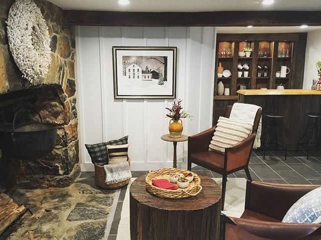 Leather chairs from Stone House Revival episode 2 basement