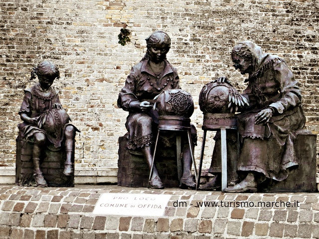 Offida: monument devoted to the lace makers. Marche, Italy