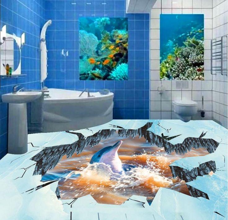 (48.98$)  Watch more here  - 3d stereoscopic flooring wallpaper stickers custom bathroom 3d floor murals vinyl flooring adhesive