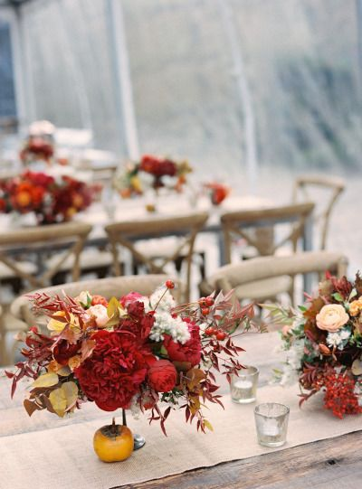It's the first week of August and Style Me Pretty has these 10 Fall Wedding Must-Haves, like this gorgeous table setting. Create your own fall inspired centerpiece with flowers found at Afloral.com