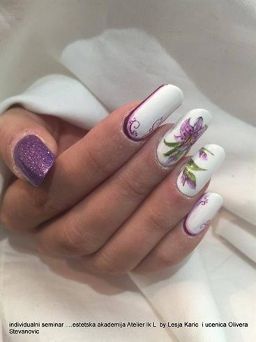 Purple white floral nails by OliveraSweetArt - Nail Art Gallery nailartgallery.nailsmag.com by Nails Magazine www.nailsmag.com #nailart