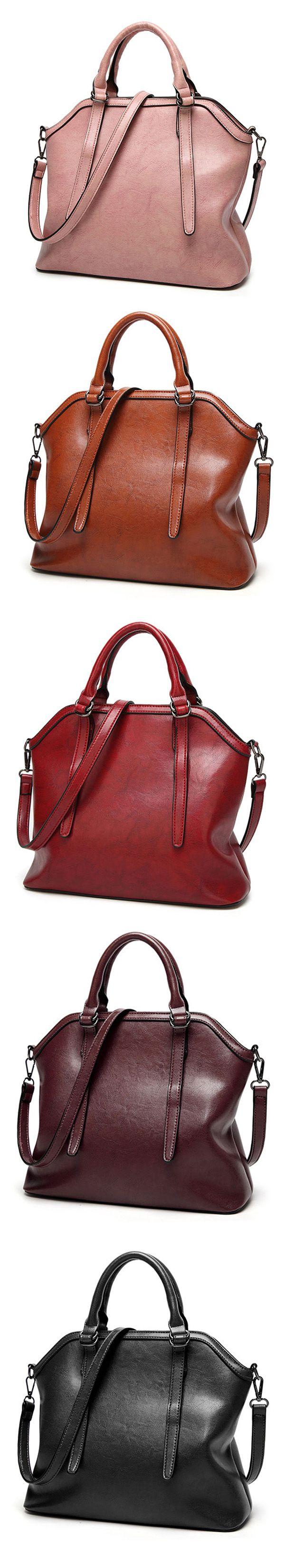 US$41.41  Ekphero Vintage PU Leather Handbag Shoulder Bag Crossbody Bag For Women