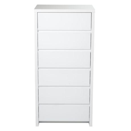 Elements 6 Drawer Tallboy  White $399. Width: 60 cm Height: 124 cm Depth: 50 cm