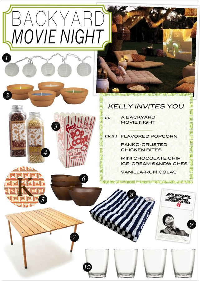 Gimme! Backyard movie night with citronella candles, hanging lanterns, teak and thick blankets