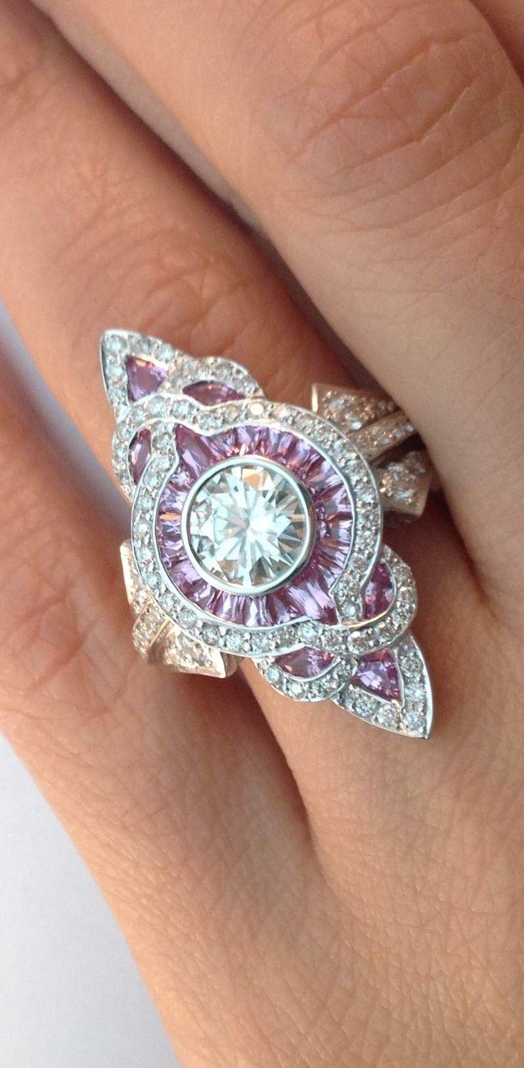 Fleurdelis Artdeco Diamond Engagement Ring In14k White Gold