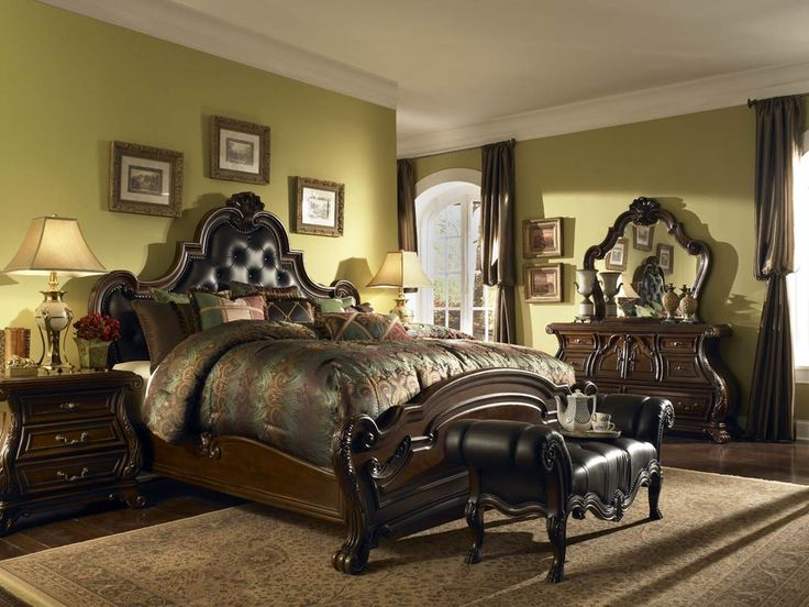 Aico Palace Gates California King Leather Mansion Bed By Michael Amini