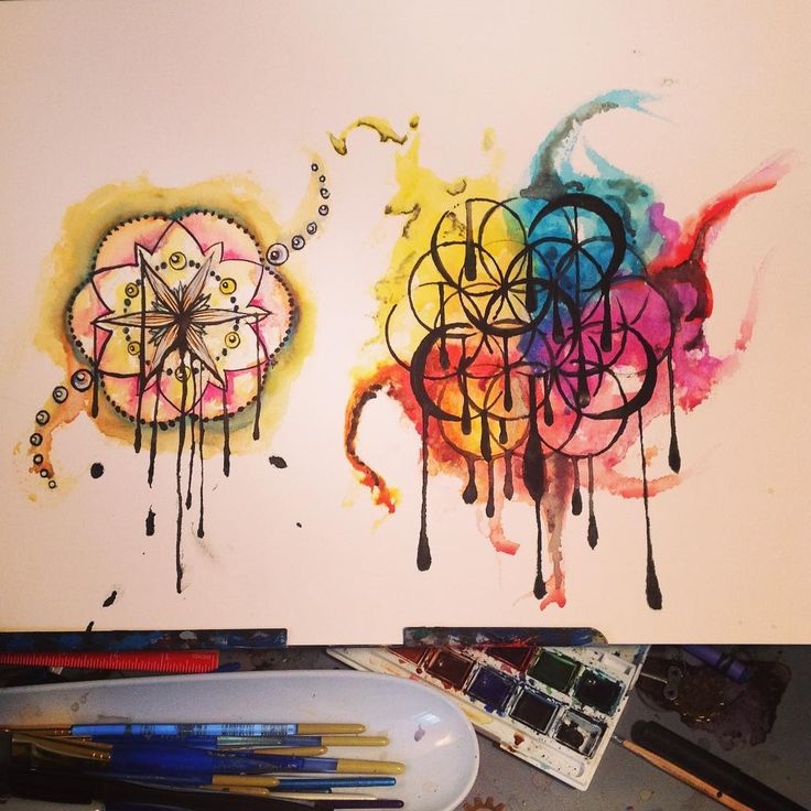 """Aslinn Smith 🎨 on Instagram: """"Finished these two #watercolors and I #love them! #mayfairfilter #floweroflife #tattoo #design that I will get one of them done on me.…"""""""