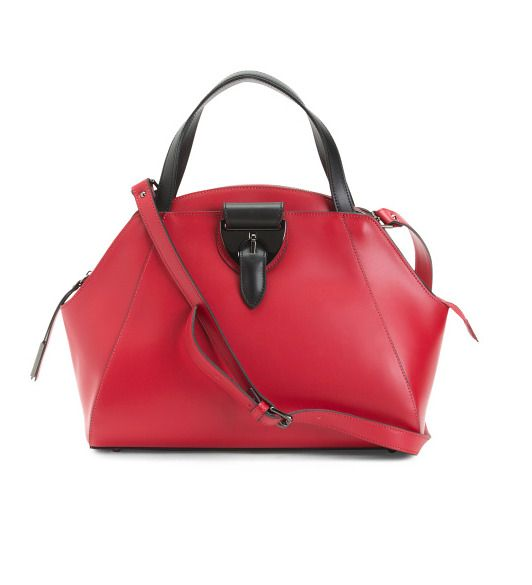 NICOLI Women's Made In Italy Leather Dome Convertible Style Red Satchel NWT