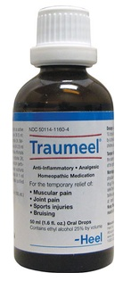 Homeopathic pain relief for you and Fido!  A safer alternative to NSAIDs, Traumeel oral drops work immediately to relieve pain associated with muscle strain, joint pain, arthritis, bruising, etc. Traumeel also helps to relieve swelling and inflammation.  http://www.barfworld.com/cgi-bin/product.cgi