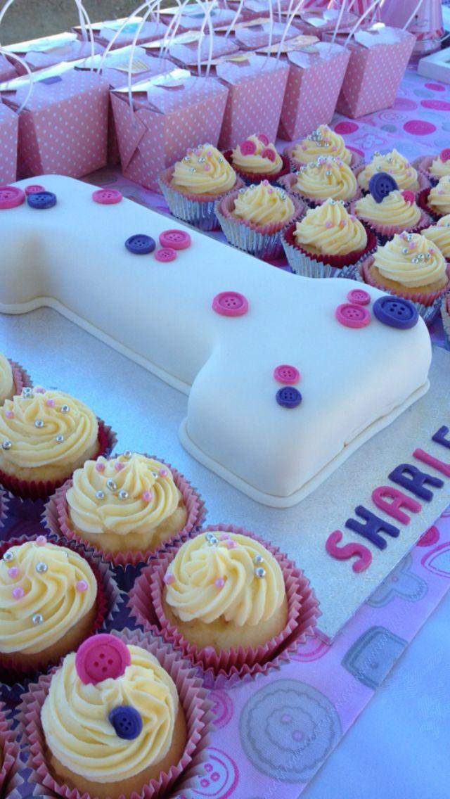 Button first birthday cake