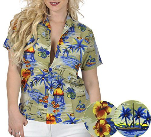 ISLAND HAWAII TOPS RELAXED FIT BASIC WOMEN'S Casual ALOHA SHIRT 1215 Khaki L. Do YOU want blouse in other colors Like Red | Pink | Orange | Violet | Purple | Yellow | Green | Turquoise | Blue | Teal | Black | Grey | White | Maroon | Brown | Mustard | Navy ,Please click on BRAND NAME LA LEELA above TITLE OR Search for LA LEELA in Search Bar of Amazon To get COMFORTABLE FIT and Right SIZE FOR YOU, request you to view SIZE CHART See LA LEELA's SIZE IMAGE in Product Image on the left. SAVE MONEY…