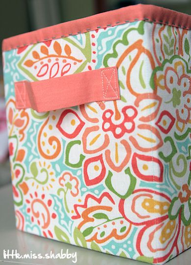 Fabric Storage Box With Hand Stitched Binding At Top