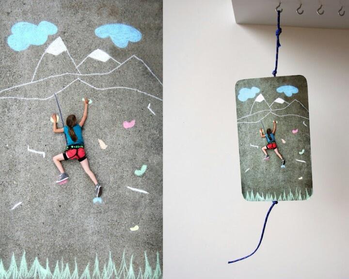 Chalk art invitation to a rock climbing party.