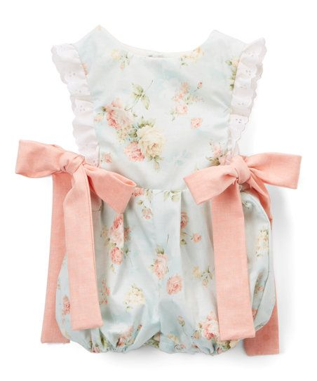 Caught Ya Lookin Blue Floral Bow-Accent Dallas Bubble Romper - Infant | zulily