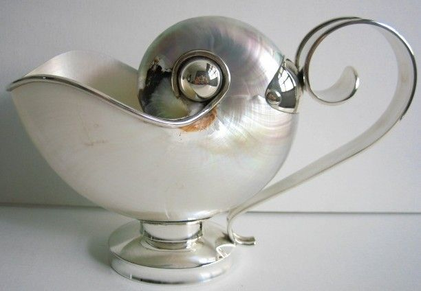 """Nautilus Shell Sauceboat. Weight: 256 g Sterling silver. Height: 12.5 cm ( 5"""" ). Width: 18 cm ( 7"""" )."""
