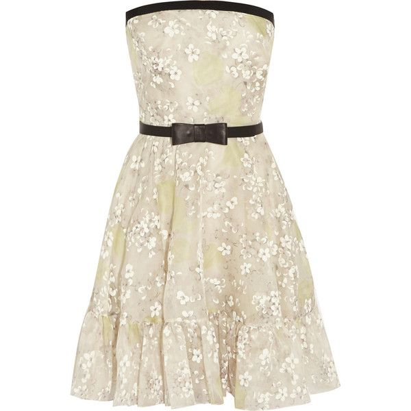 Valentino Floral-print silk-organza dress found on Polyvore