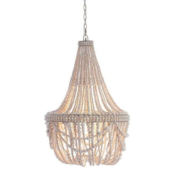 Pottery Barn Francesca Beaded Chandelier ($799) ❤ liked on Polyvore featuring home, lighting, ceiling lights, pottery barn lamps, wood bead chandelier, beaded chandelier, pottery barn hanging lights and pottery barn lighting
