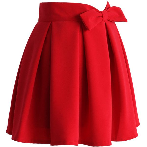 Chicwish Sweet Your Heart Bowknot Pleated Skirt in Ruby (110 PEN) ❤ liked on Polyvore featuring skirts, bottoms, red pleated skirt, lined skirt, knee length pleated skirt, back zipper skirt and red skirt