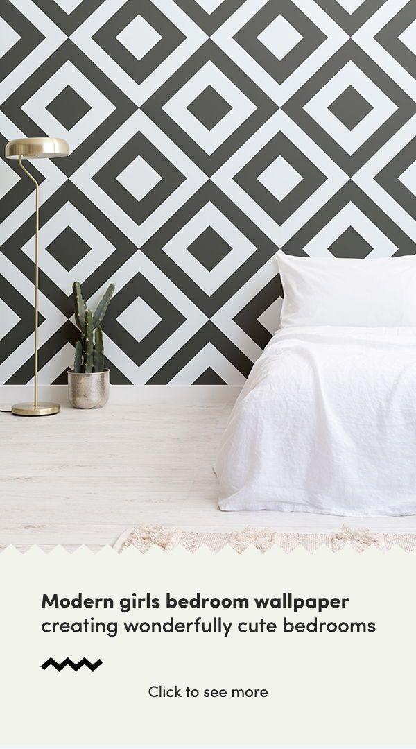 Black White Geometric Wallpaper Mural Murals Wallpaper Pink Bedroom Decor White Room Decor Wallpaper Design For Bedroom
