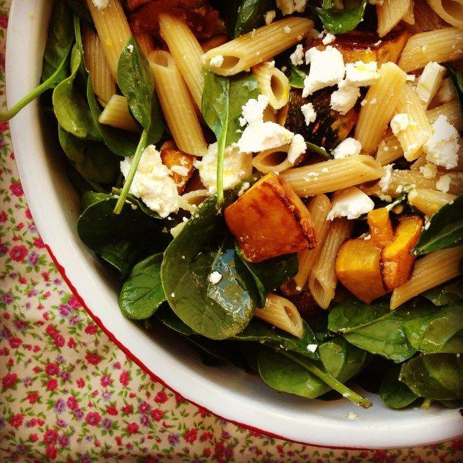 roasted pumpkin & feta pasta salad