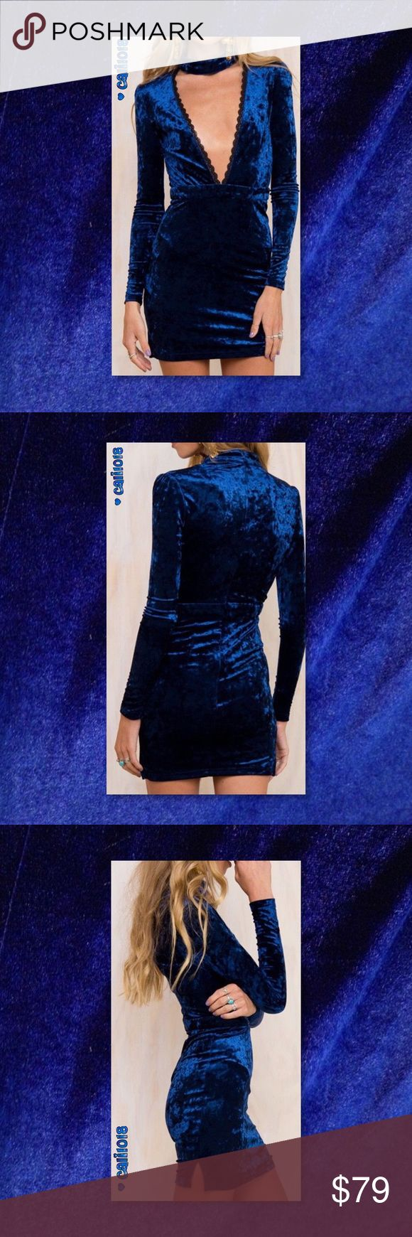 JUST IN🆕Royal Blue Velvet Choker Style Mini Dress New Royal Blue Velvet Plunging Neckline Choker Style Mini Dress 100% Brand New and High Quality!!