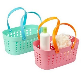 Pink and orange bath baskets from the Container Store.