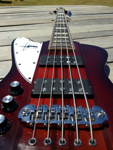 5 string lefty T-bird bass one off.