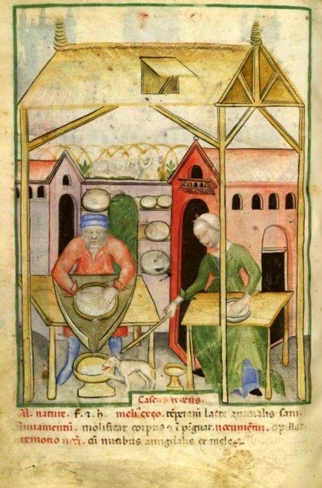 Escena de la fabricación de queso fresco (ca. 1390-1400). BNF.