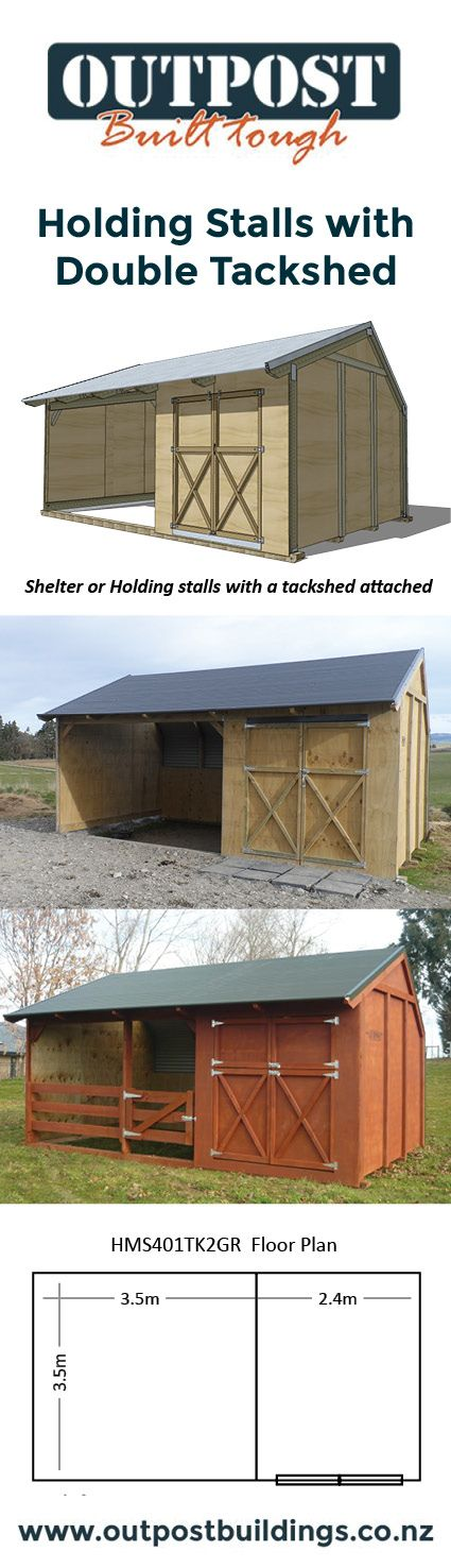 Holding stalls for your horse with a double door tack shed attached. Great for grooming & feeding and storing your gear!