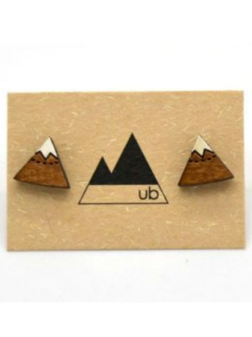 Mountain Studs - Natural/White | Designed using original drawings, and laser-cut wood in Kelowna, British Columbia. Painted details are applied by hand. #torontofashion #CanadianDesigners #canadianfashion #canadianfashionblogger #madeincanada #canadiandesigner #canadianbrands #jewellery #studs #studearrings #earrings #torontojewelry #canadian #canadianartist #earringsoftheday