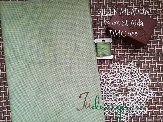 Check out this item in my Etsy shop https://www.etsy.com/listing/595641099/20-count-green-meadow-hand-dyed-aida-for