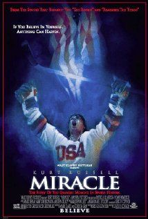 """MIRACLE"".... one of the best hockey movies (next to ""Slapshot""). True story of Herb Brooks (Russell), the player-turned-coach who led the 1980 U.S. Olympic hockey team to victory over the seemingly invincible Russian squad. And i LOVE Eddie Cahill in this!"