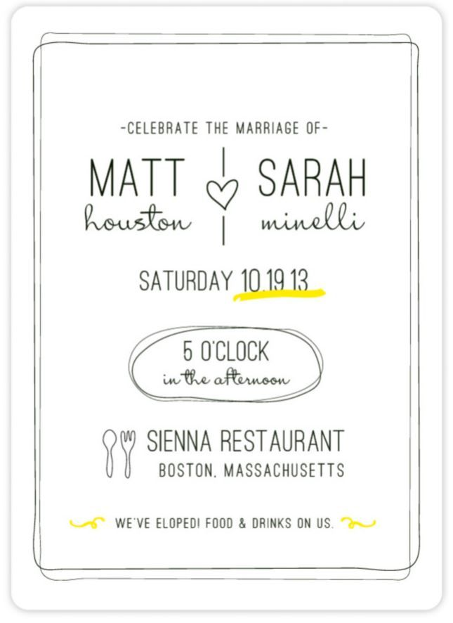 """Bistro"" - Customizable Wedding Invitations in Yellow by ..."