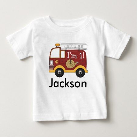 Cute Fire Truck Kids Birthday Personalized Baby T-Shirt - tap, personalize, buy right now!