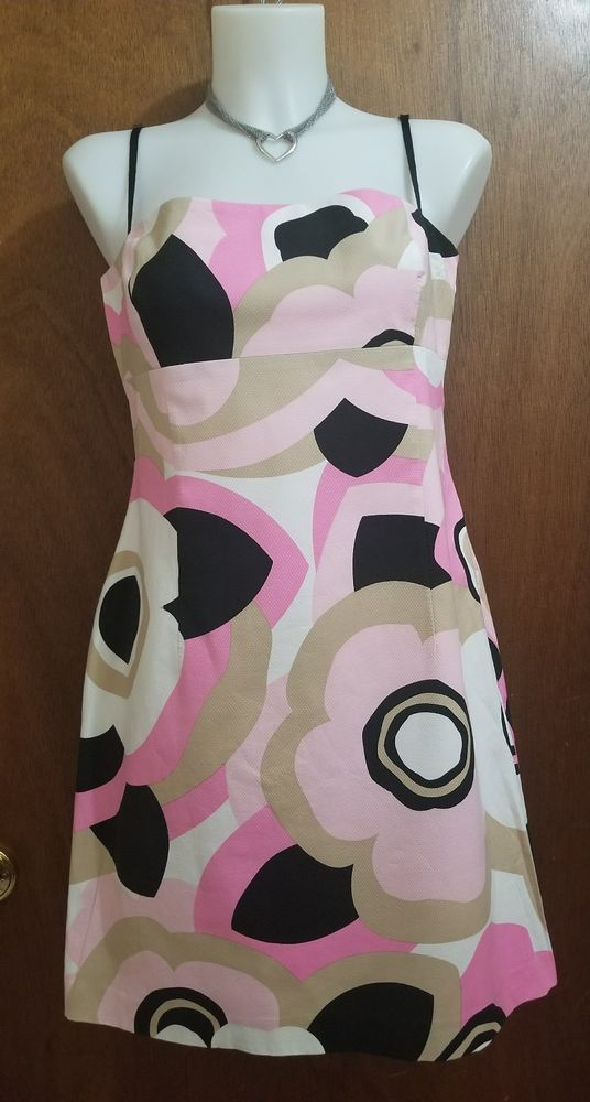 Elie Tahari dress sz 12 empire waist pink floral spaghetti strap bold retro mod | Clothing, Shoes & Accessories, Women's Clothing, Dresses | eBay!