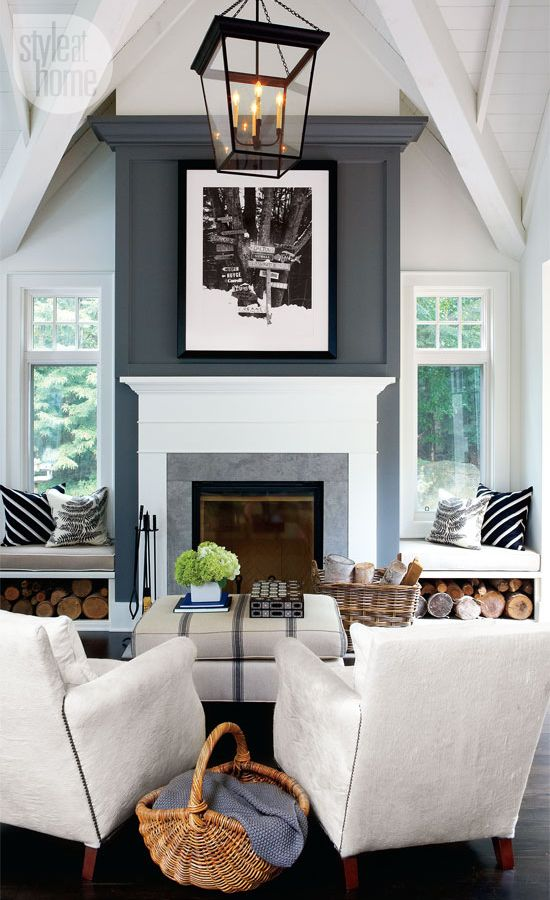 White Room With Dark Floors The Tall Ceiling Design And Just The Fireplace  In Gray. Two Window Seats By Fireplace With Stored Wood, Ceiling Light.