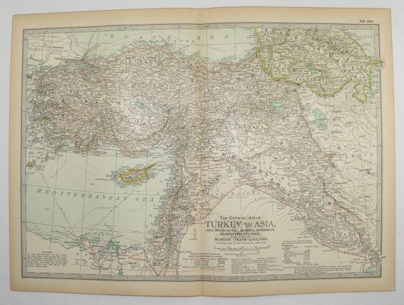 1901 Vintage Map Turkey in Asia, Middle East Map, Palestine, Iraq Map, Syria, Kurdistan Map Armenia, Office Art Gift for Him, Gift for Her available from OldMapsandPrints on Etsy