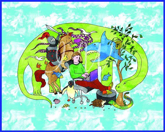 dinosaur shark birds evolution history fantasy drawing illustration vector art eps pdf ai jpg svg png