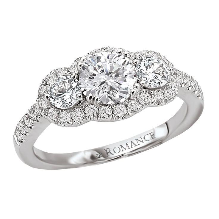 3 Stone Halo Engagement Rings