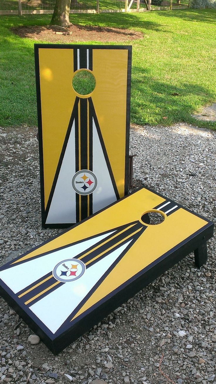 Steeler Corn Hole Boards Built Out Of Plywood To